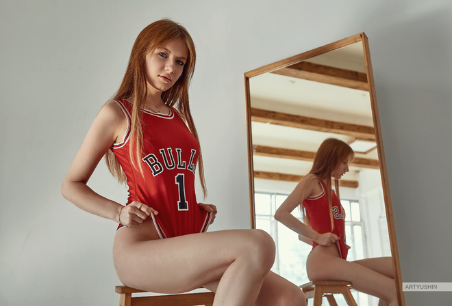 women, Alina Maier, redhead, Chicago Bulls, mirror, reflection, sitting, monokinis, bodysuit