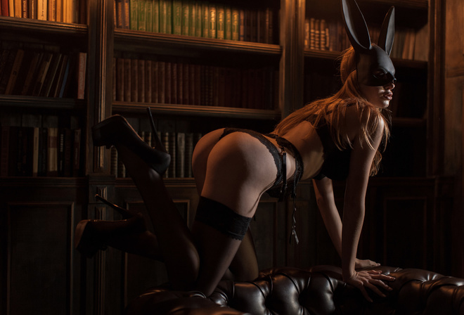 women, brunette, mask, black lingerie, kneeling, ass, books, garter belt, blonde