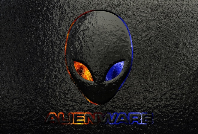 alienware logo grunge background, logo images, brand, alienware, brand and logo