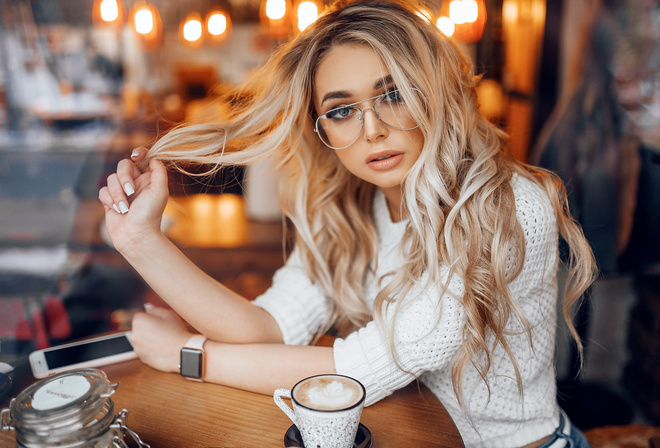 women, blonde, cellphone, watch, women with glasses, portrait, cup