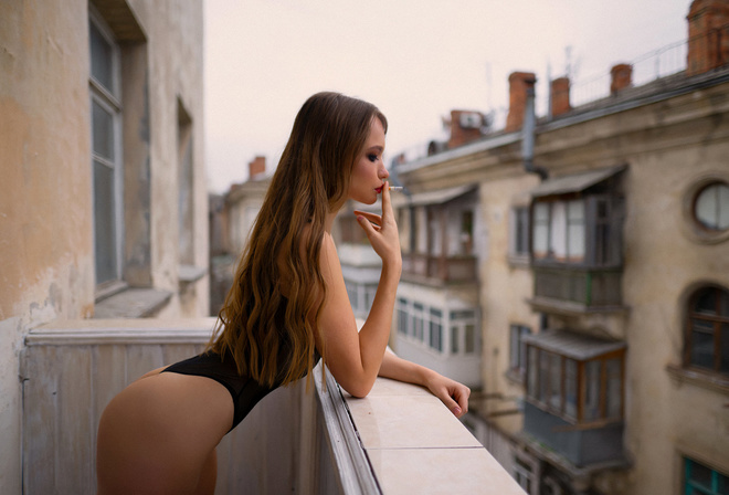 women, ass, body lingerie, cigarettes, long hair, balcony, women outdoors, black lingerie, red lipstick