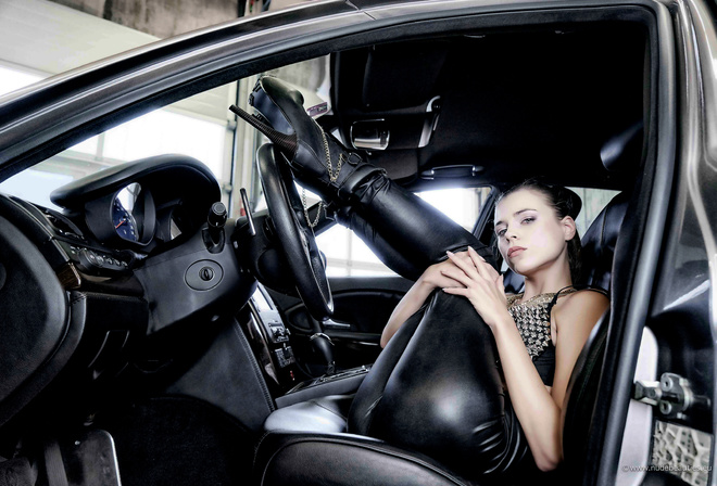 aleksa slusarchi, valeria a, model, brunette, leather pants, high heels, car, maserati, maserati