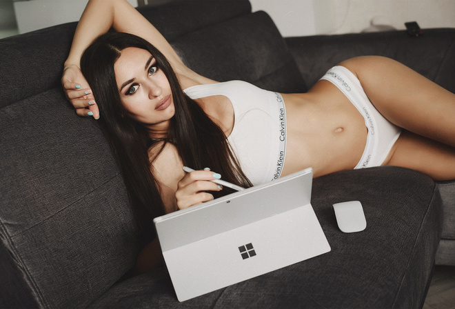 women, underwear, couch, long hair, belly, Calvin Klein, armpits, painted nails, portable computer
