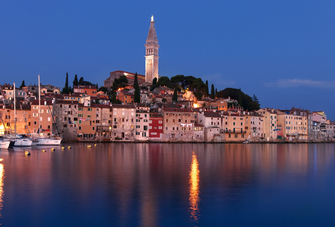 Rovinj, evening, cityscape, coast, sea, Adriatic Sea, Istria, Croatia