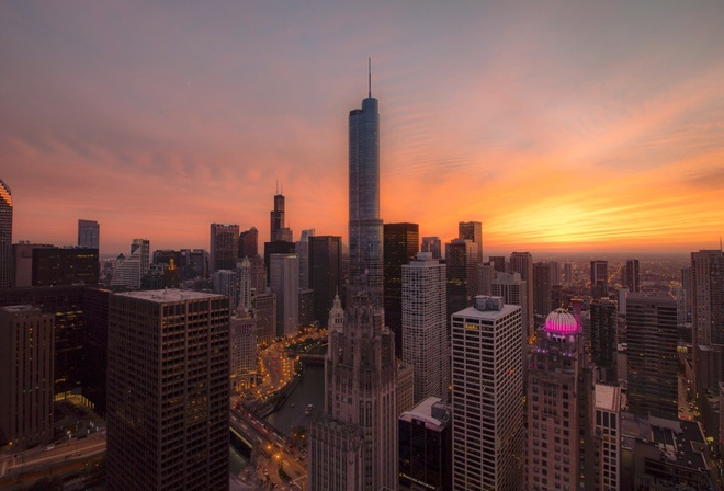 Chicago, Skyscrapers, Orange Sky, Sunset, Urban, Buildings, Modern Architecture