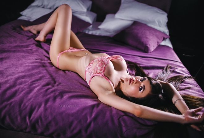 Yulia Zhukova, women, Artem SolovЬev, brunette, pink lingerie, belly, lying on back, in bed, pillow, armpits, ribs