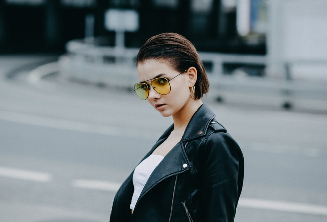 Victoria Sokolova, women, portrait, women outdoors, women with glasses, leather jackets, tank top, short hair