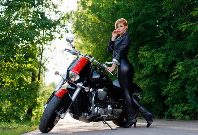 women, red lipstick, black clothing, ass, short hair, women with motorcycles, leather jackets, road, women outdoors, hoop earrings