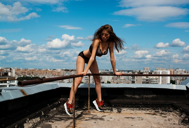 women, black lingerie, rooftops, sky, clouds, brunette, sunglasses, sneakers, necklace, cityscape
