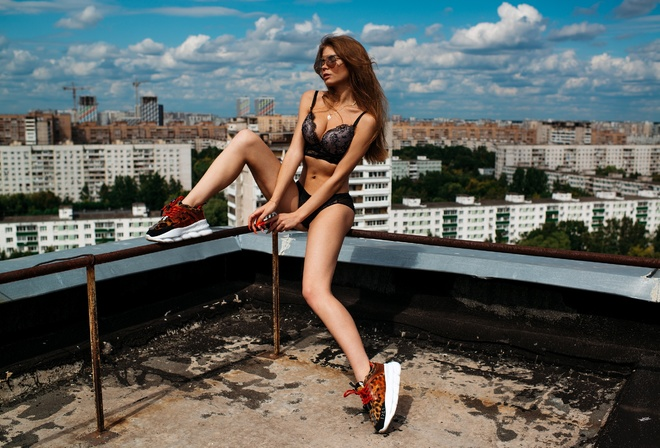 women, rooftops, brunette, sitting, sneakers, belly, closed eyes, sunglasses, cityscape, black lingerie, necklace, sky, clouds, building, painted nails