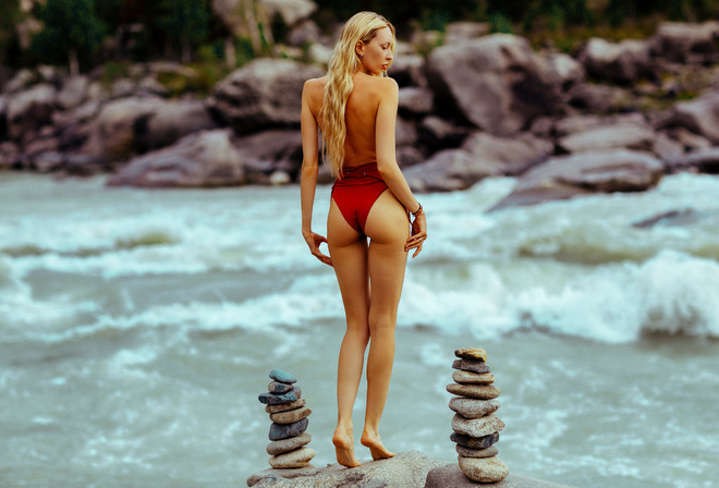 women, blonde, long hair, brunette, ass, the gap, river, women outdoors, one-piece swimsuit, red lipstick, back, undressing, stones, rocks