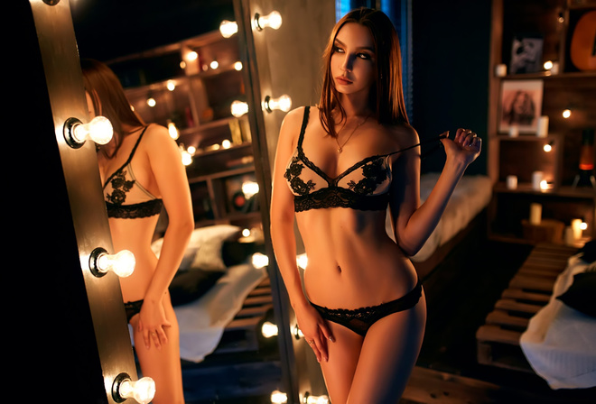 women, mirror, reflection, light bulb, belly, hips, black lingerie, lingerie, ribs, necklace
