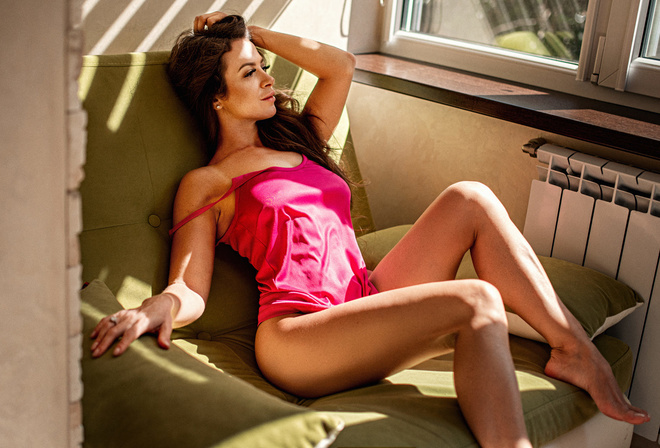 women, sitting, window, brunette, nipples through clothing, tan lines, looking out window