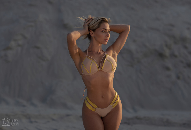 women, blonde, hands in hair, brunette, hips, armpits, ribs, bikini, looking away, women outdoors, belly