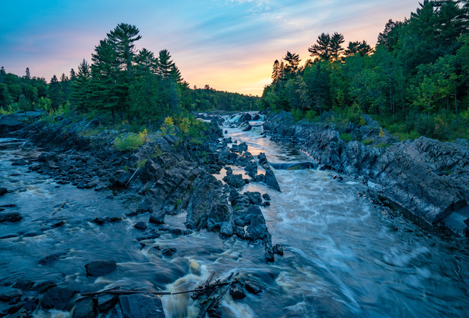 St Louis River at Jay Cooke State Park, Minnesota, закат, река