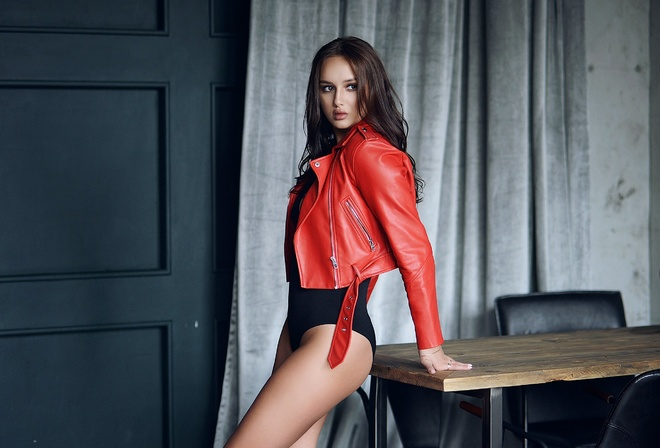 women, leather jackets, bodysuit, table, brunette, women indoors, ass, pink nails, chair, brown eyes