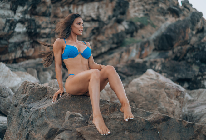 women, rocks, sitting, blue bikini, brunette, long hair, women outdoors, ribs, looking away, belly