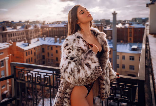 women, body lingerie, balcony, closed eyes, fur coats, black lingerie, brunette, sky, women outdoors, animal print, building