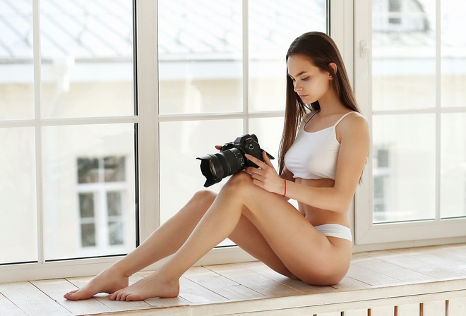 women, sitting, window, camera, tank top, white panties, brunette, straight hair, long hair, women indoors, belly, eyeliner