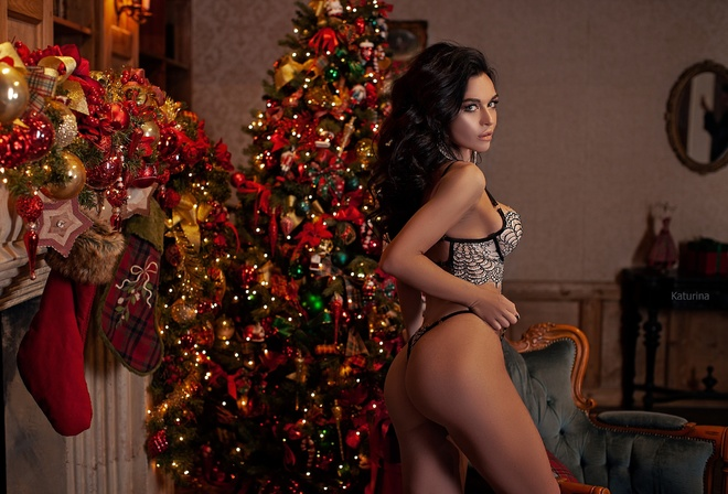 women, Christmas, ass, brunette, lingerie, women indoors, Christmas Tree, Julia Katurina, armchair, looking at viewer