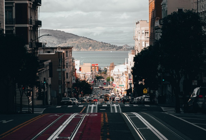 city, road, coast, water, California, view, street, hills, buildings, bay, trolley, San francisco