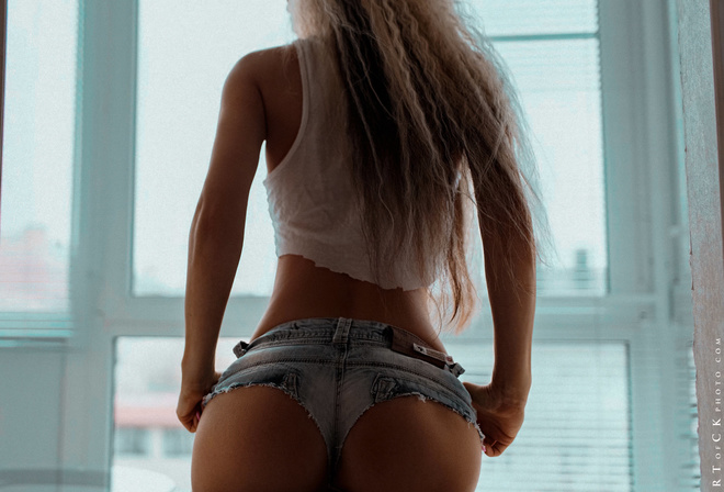 women, ass, brunette, back, tank top, jean shorts, Stepan Kvardakov, window