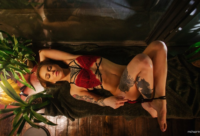 women, red lingerie, tattoo, Maksim Chuprin, top view, window, plants, belly, wooden floor, closed eyes, brunette