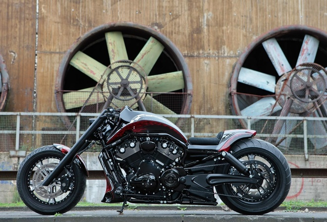 harley davidson, custom, thunderbike, night, rod, track, racer