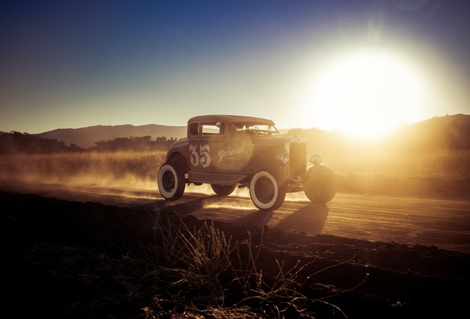 hot rod, Ford Model A, 1927, american cars, evening, sunset, fog, retro