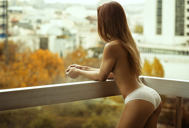 woman, girl, beautiful, brunette, cute, pretty, model, panties, perfect, balcony, looking, city, blonde