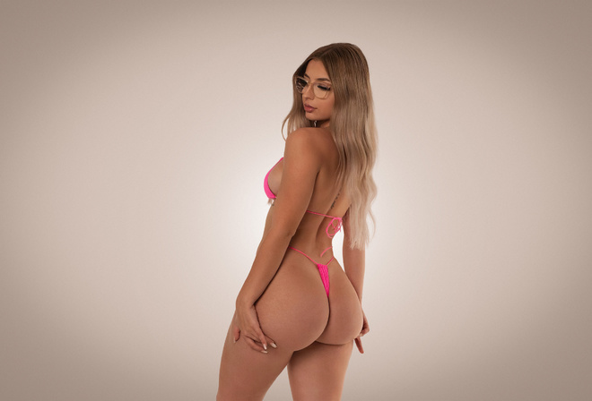 women, blonde, ass, pink bikinis, Studio, simple background, women with glasses, brunette, sideboob, long hair, tattoo