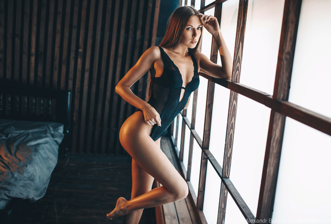 women, Alexandr Burdov, window, bed, ass, brunette, body lingerie, straight hair, long hair, women indoors, wooden floor, black lingerie