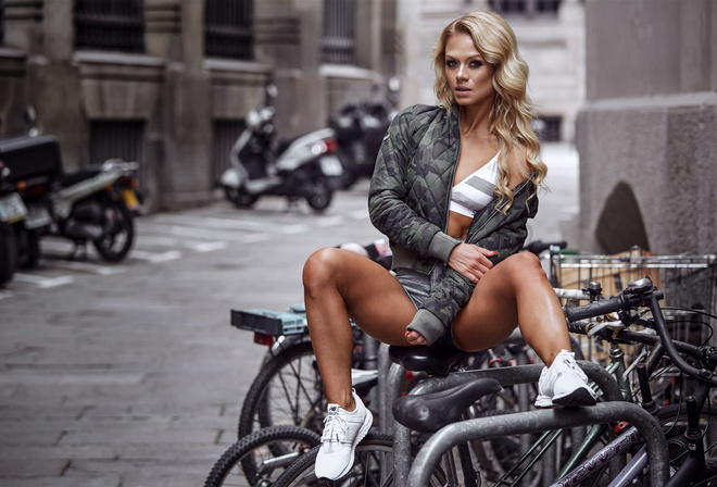 blonde, girl, model, cute, sexy, beautiful, city, pretty, model, jeans, perfect, shorts, street, bike