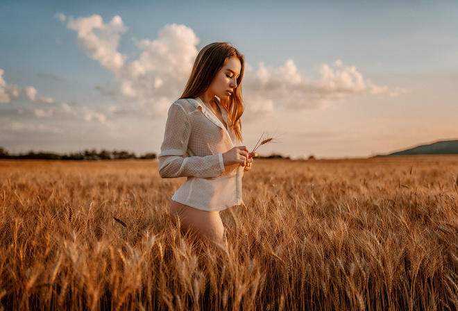 ass, outdoors, see through, blouse, wheat, clouds, sky, boobs