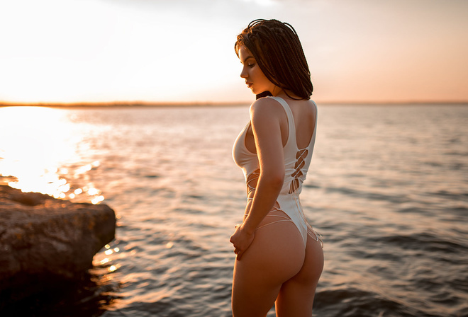 women, sunset, ass, one-piece swimsuit, women outdoors, brunette, sky