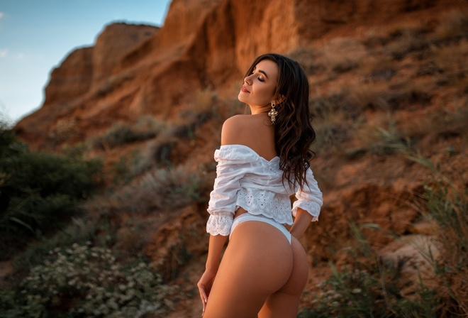women, brunette, women outdoors, white clothing, closed eyes, ass, bare shoulders, white panties, white nails, sky