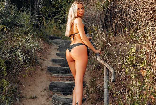 women, blonde, black bikini, brunette, women outdoors, tires, ass, tattoo, straight hair