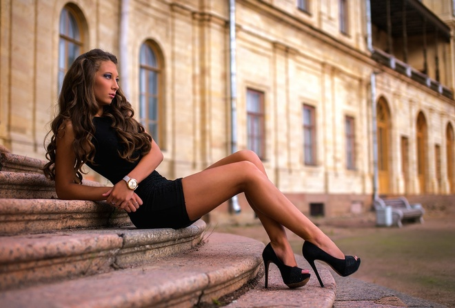 blonde, stairs, perfect, girl, cute, sexy, women, woman, model, high heels, street, dress, sitting, brunette