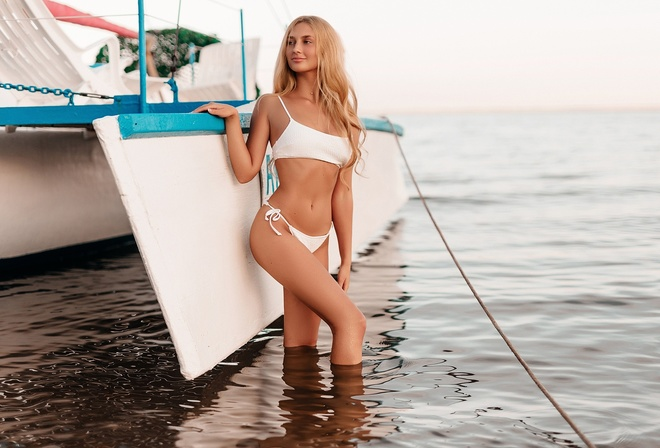 women, blonde, water, women outdoors, white bikini, sand, belly, ribs, long hair, smiling, boat