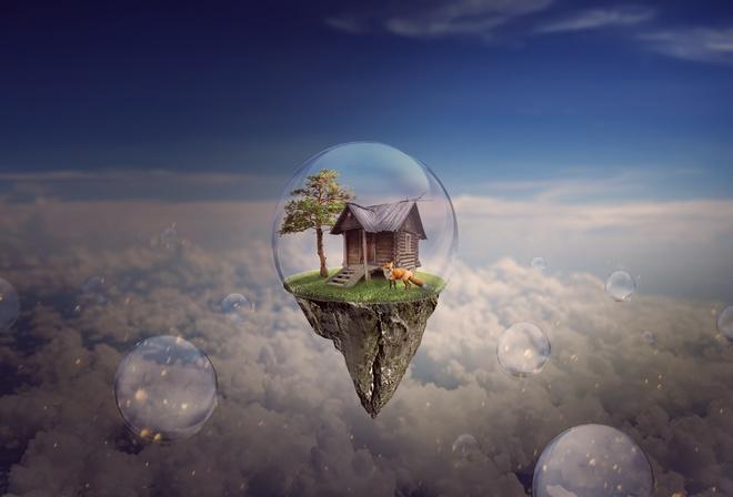 Обои островок, полет, пузырь, домик, дерево, лиса на рабочий стол -  картинки с раздела 3D - обои