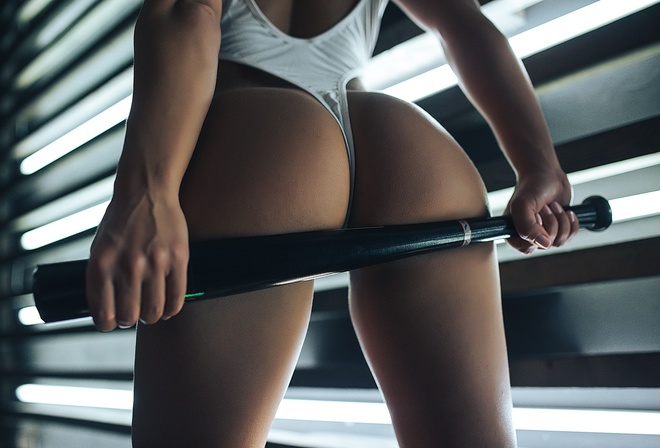 svetlana ivanova, model, brunette, lamps, baseball bat, ass, women, white leotard, bodysuit
