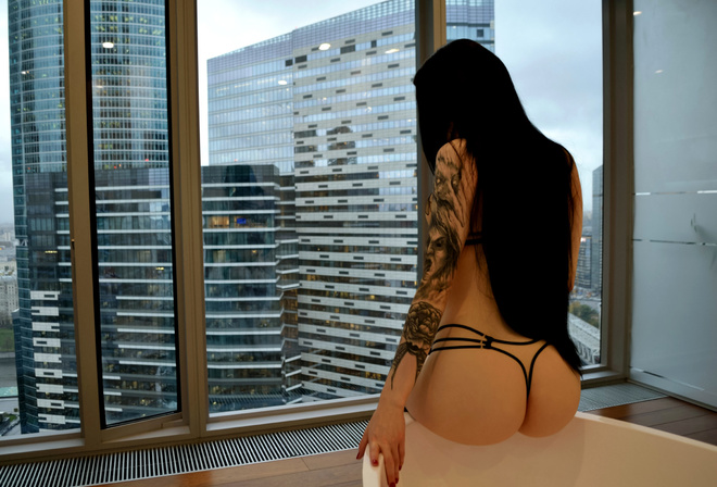 women, ass, sitting, bathtub, back, women indoors, window, building, long hair, tattoo, red nails