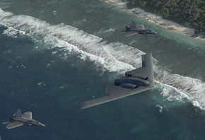 Two f22, b-2, pacific ocean