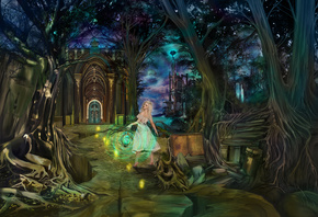 fairytales, fantasy, ancient book, night, wonderland, gates, girl, magic, castle, Dreamkeeper