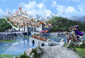 middle ages, wood, fantasy, Cg wallpapers, city, lake, mountains, castle, bridge, marina kecman