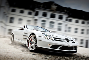 mercedes-benz slr roadster mclaren, Brabus exclusive sport program, white auto
