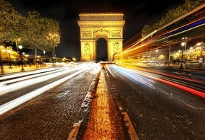 paris, ночь, париж, Arc de triomphe, france, франция