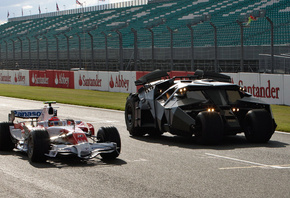 at silverstone, car, with, Toyota, batmobile, the, f1, the dark knight movie, from