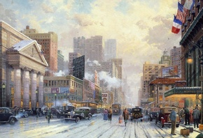 painting, Thomas kinkade, city, winter, street, 1932, art, snow on seventh avenue, snow, new york