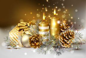 cool, candle, beauty, gold, colors, box, beautiful, christmas, delicate, gift, candles, Ball